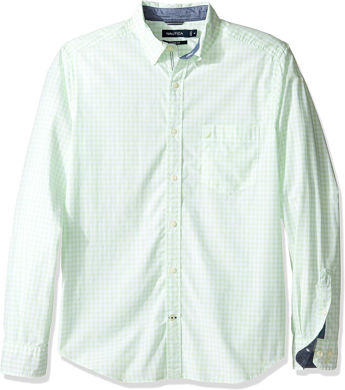 Nautica Men's Big and Tall Long Sleeve Gingham Plaid Button Down Shirt