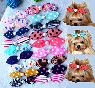Wholesale 50pcs Dog Hair Clips Mix Patterns Bowknot Pearls Centre Pet Dog Grooming Bows Supplies 11CM Pet Hair Clips Teddy Exquisite Rabbit Ears Dog Hair Accessories