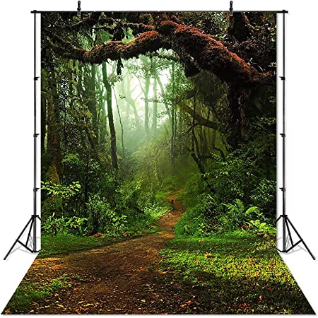 7x7FT Vinyl Photography Backdrop,Jungle,Mangrove Rainforest Lake Photo Background for Photo Booth Studio Props