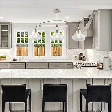 "Kira Home Harlow 37.5"" Modern Industrial Farmhouse/Schoolhouse 3-Light Island Light with Clear Glass Shades, Adjustable H"
