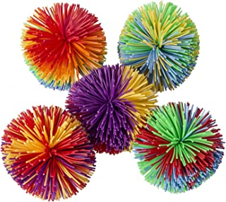 Hibery 5 Pack Monkey Stringy Balls, Soft Koosh Ball Stress Balls Monkey Balls, Sensory Fidgets Toys, Rainbow Pom Ball, Colorful Bouncy Ball / Stress / Sensory Toy