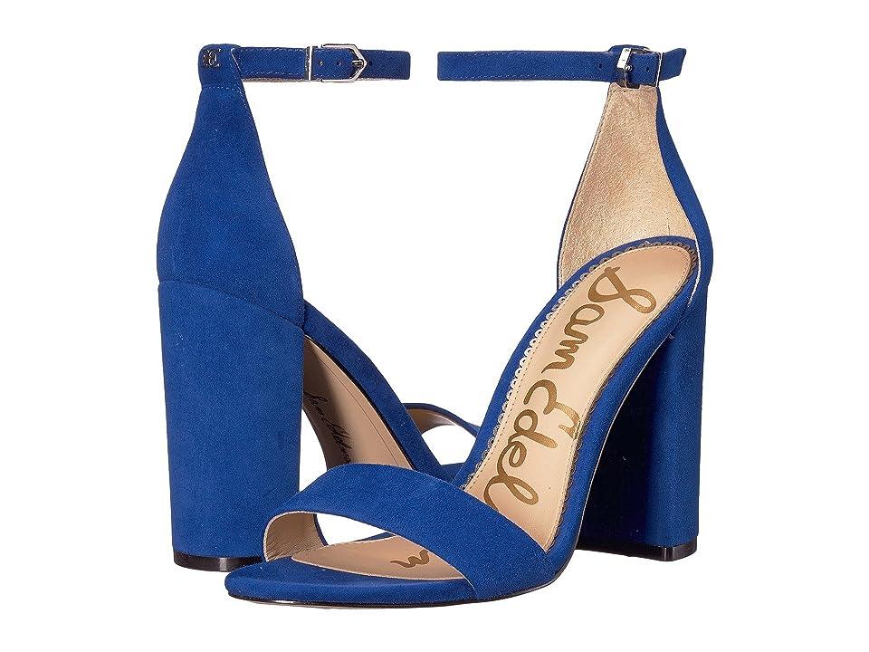 Sam Edelman Yaro Ankle Strap Sandal Heel (Deep Indigo Kid Suede Leather) Women