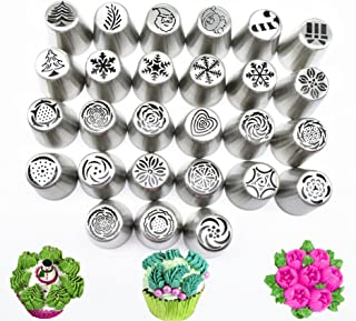 30Pcs Russian Icing Piping Tips Christmas Tree Pastry Nozzles Cake Cupcake Cookie Decoration Pastry Baking Confectionery Tools