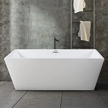 FerdY Freestanding Bathtub Rectangle Freestanding Soaking Bathtub Glossy White, cUPC Certified, Drain & Overflow Assembly Included (ferdy-02532-59)