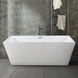 FerdY Freestanding Bathtub Rectangle Freestanding Soaking Bathtub Glossy White, cUPC Certified, Drain & Overflow Assembly ...