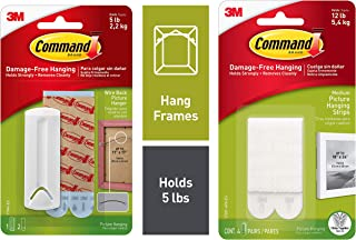 Command Medium Picture Hanging Strip, Holds 5.4 kg, No Drilling, Holds Strong, No Wall Damage (White & Command Wire-Back P...