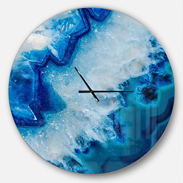Designart Geode 切片宏超大现代金属时钟圆圈墙壁装饰艺术 38x38 英寸蓝色