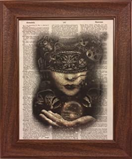 Steampunk Woman Dictionary Book Page Artwork Print Picture Poster Home Office Bedroom Kitchen Wall Decor - unframed