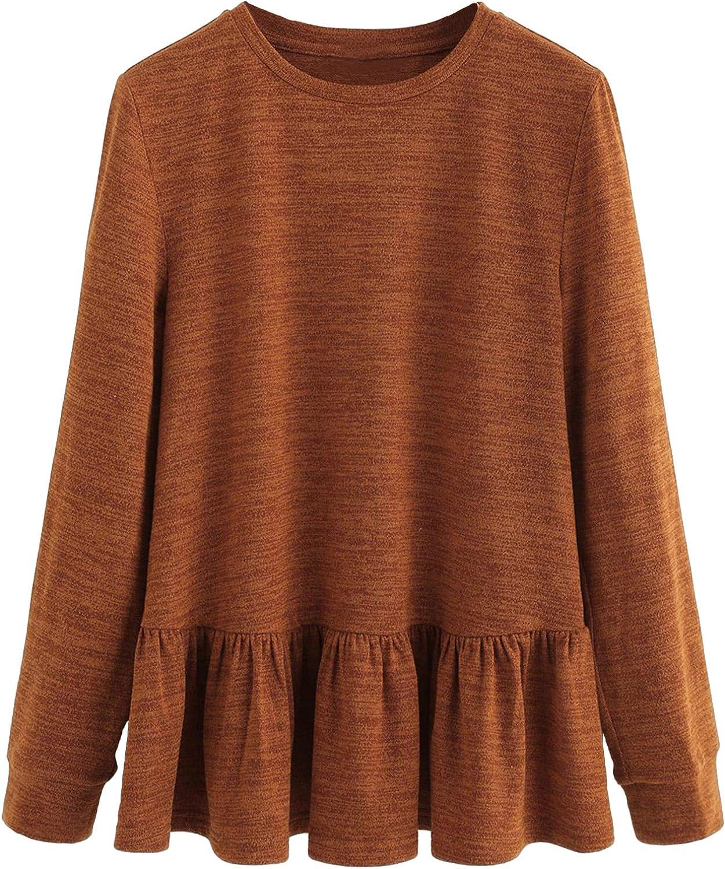 DIDK Womens Casual Ruffle Hem Crewneck Long Sleeve Solid Pullover Tee Top Blouses
