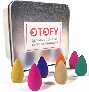 OTOFY 70 PCS Backflow Incense Cones Green Tea Incense Osmanthus Jasmine Incense Lavender Rose Sandalwood Mixed Natural Incense Cone, Backflow Incense Burners Special (Incense Cones)