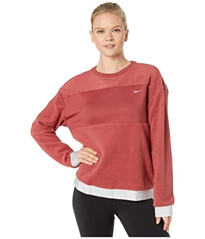 Nike Icon Clash Therma Fleece Crew (Cedar/Metallic Gold) Women