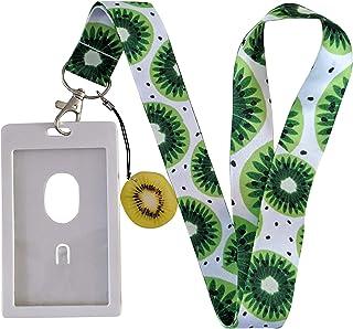 Fruits Print Lanyard w/ID Badge Holder and Acrylic Charm (Kiwi)