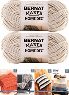 Bernat Maker Home Dec Corded Yarn Bundle 2 Skeins with 4 Patterns 8.8 Ounce Each Skein (Cream)