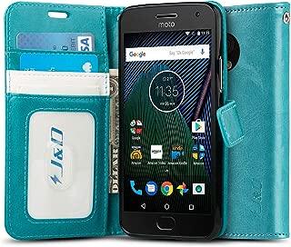 J&D Case Compatible for Moto G5 Plus Case, [Wallet Stand] [Slim Fit] Shock Resistant..