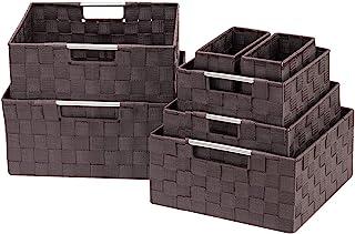 Sorbus Boîte de Rangement tressée pour Panier de Rangement avec poignées de Transport intégrées 7 pièces - Chocolat