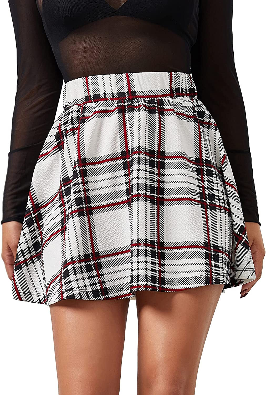 Milumia Women's Casual Plaid Skater Skirt Elastic High Waist Flared Swing Short Skirt