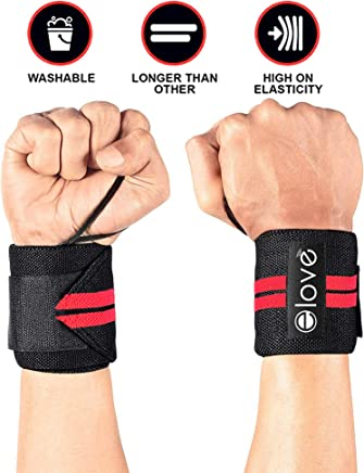 Elove Wrist Wraps Support With Thumb Loops - Professional Grade Wrist Braces for Men & Women - Weight Lifting, Crossfit, Powerlifting, Strength,Training, Gymnastics, Bowling (One Size Fits All)