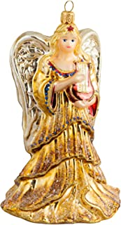 Miss Christmas 2019 Collection Golden Angel with Harp 7-Inch Handmade Blown Glass Christmas Tree Ornament