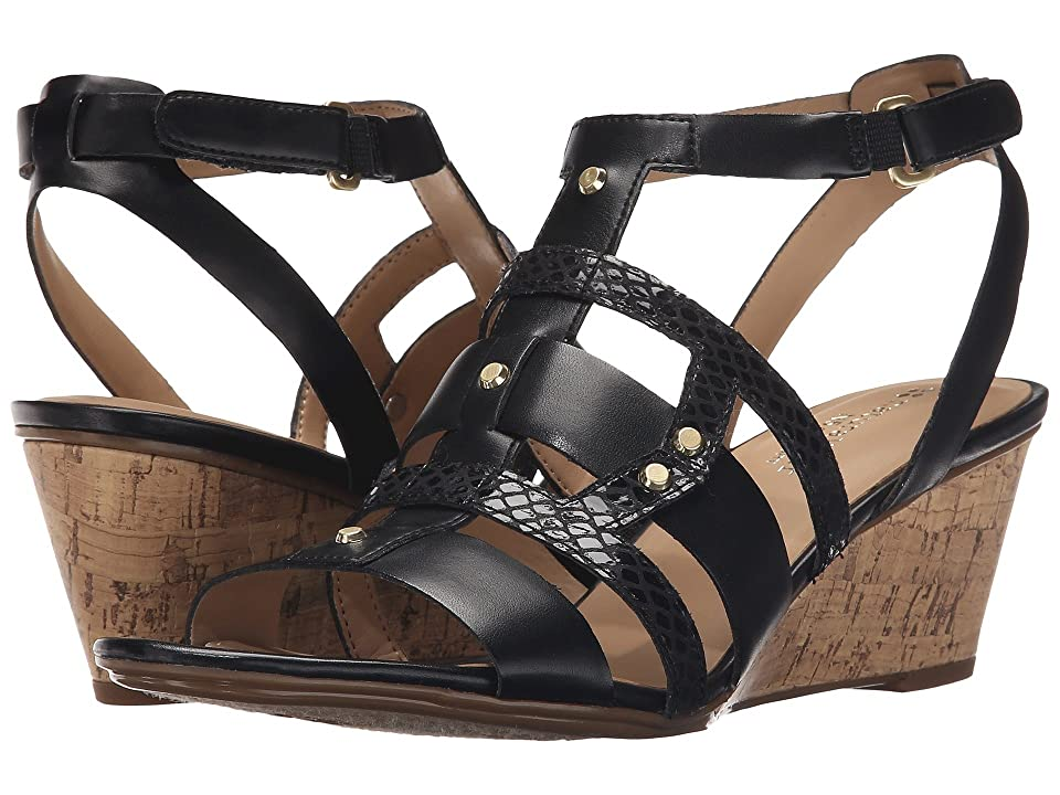 Naturalizer Hania (Black Smooth/Printed Snake) Women's Wedge Shoes