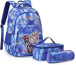 Mochila Escoler Adolescente Mochila Niñas Niños Mochilas Infantiles Sets 3 en 1 con Bolsa del Almuerzo y Estuche De Lápices Azul