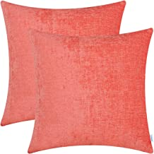 CaliTime Pack of 2 Cozy Throw Pillow Covers Cases for Couch Sofa Home Decoration Solid Dyed Soft Chenille 18 X 18 Inches Living Coral
