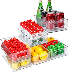 Set of 6 Refrigerator Organizer Bins, Stackable Plastic Food Storage Bins, Plastic Pantry Cabinet with Cutout Handles for Freezer, Kitchen, Countertops, Cabinets - Clear BPA Free Food Storage Rack
