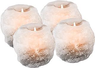 Mockins 2.5 lbs 4 Pack Natural White Himalayan Salt Tea Light Candles Holder   Great Room Decor