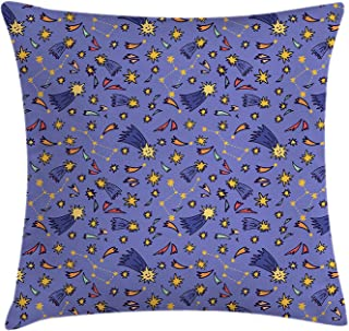 Decorative Square Accent Pillow Case Dark Blue Grey Galaxy Throw Pillow Cushion Cover 18 X 18 Inches Attack of The Asteroid Rocky Dark Body Comet on Planet Earth Meteor Shower Print