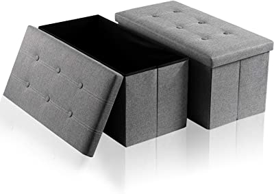 HERNEAT Storage Ottoman Bench [2 Pack] Linen Folding Ottoman with Storage Chest Footrest Padded Seat with Lids Memory Foam Seat Bedroom Ottomans,Support 360lbs (30x15x15inches)