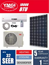YMGI Ductless Mini Split Air Conditioner 1.5 Ton 18000 BTU up to 32 SEER Solar Assist with Heat Pump with 25 Ft Installation Lineset