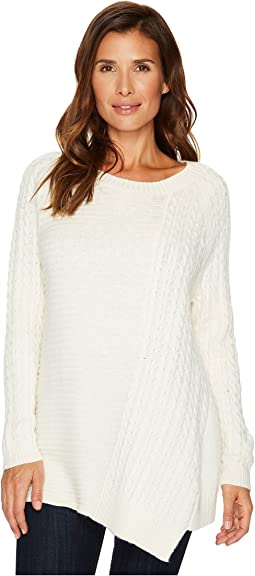 TWO by Vince Camuto - Long Sleeve Smog Yarn Mixed Novelty Stitch Pullover