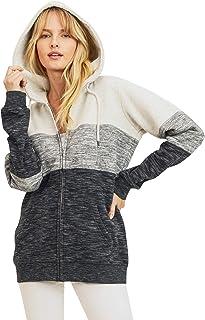 esstive Women's Oversized Ultra Soft Fleece Solid Full-Zip Hoodie Jacket