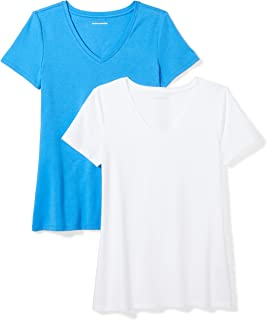 adb3c2fddadc8 Amazon Essentials Women s 2-Pack Short-Sleeve V-Neck T-Shirt