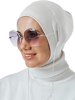 حجاب فوري لسماعات الرأس والنظارات، وشاح رأس رياضي، جاهز لارتداء إكسسوارات المسلمين للنساء (أبيض1)