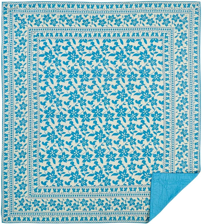 VHC Brands Farmhouse Bedding - Briar Tan Quilt, Queen, Azure