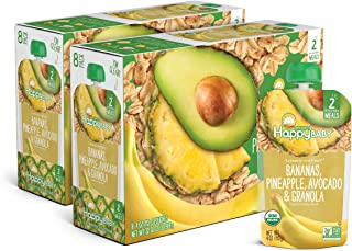 Happy Baby Organic Clearly Crafted Stage 2 Baby Food Bananas, Pineapples, Avocado & Granola, 4 Ounce Pouch (Pack of 16) (P...