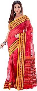 SareesofBengal Women's Cotton Tangail Tant Jamdani Bengal Handloom Saree Red