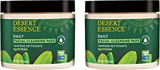 Desert Essence Natural Tea Tree Oil Facial Cleansing Pads - 50 Count - Pack of 2 - Face Cleanser - Soothes & Calms Skin - Makeup Remover Pads - Removes Oil & Dirt - Great for Travel - Essential Oils