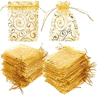 120 Pack Organza Gift Bags - Mesh Favor Bags, Wedding Gifts, Gold, 3.7 x 4.8 Inches