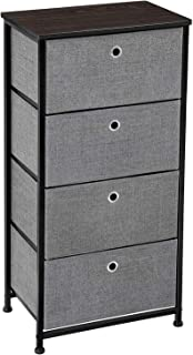 SONGMICS 4-Tier Dresser Unit, Cabinet with 4 Easy Pull Fabric Drawers,Storage Organizer with Metal Frame,Wooden Tabletop for Closet, Hallway, 17.7 x 11.8 x 36.4 Inches, Gray ULTS04G