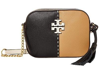 Tory Burch McGraw Color-Block Camera Bag (Black/Tiramisu) Handbags