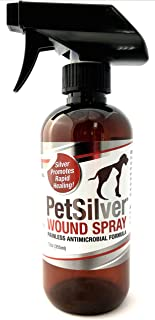 PetSilver Wound Spray with New Chelated Silver 50 ppm. Antimicrobial Wound Care for Cats, Dogs and Horses. Rapid Healing for Hot Spots, Burns, Cuts, Scratches, Itchy Skin, Yeast and Bacteria Infections. Amazing Results!