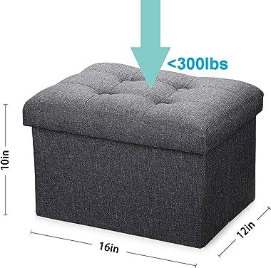 Alasdo Storage Small Ottoman Foldable Rectangle Coffee Table Multipurpose Foot Rest Short Children Sofa Stool,Linen Fabric Ot