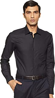 Arrow Men Black Mitered Cuff French Placket Solid Formal Shirt