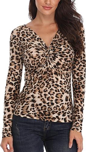 ABirdon Donna Maglia Manica Lunga Camicetta Casual T-Shirt Incrociato Frontale Maglietta Asimmetrico Loose Fit Felpa Top
