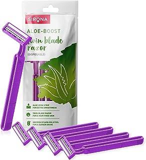 Sirona - Pack of 5 - Disposable Hair Removal Razor for Women   Aloe Boost   for Arms, Legs & Bikini Line   2 Blade Shaving...