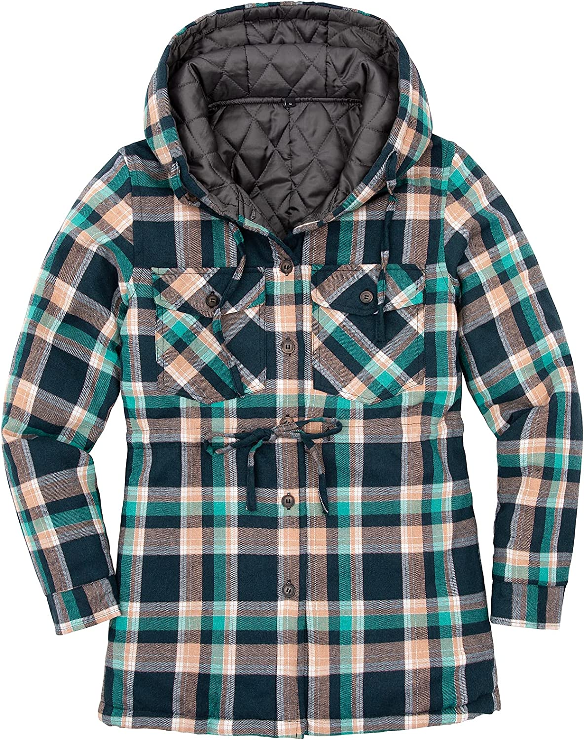 Women Flannel Shirt Jacket with Hood Long Sleeve Lined Quilted Flannel Jackets with Pockets