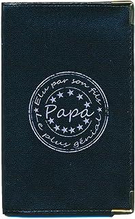 Sylla Papa Petit Portefeuille /à Rabat pour Homme Porte Monnaie Noir personnalise avec prenom