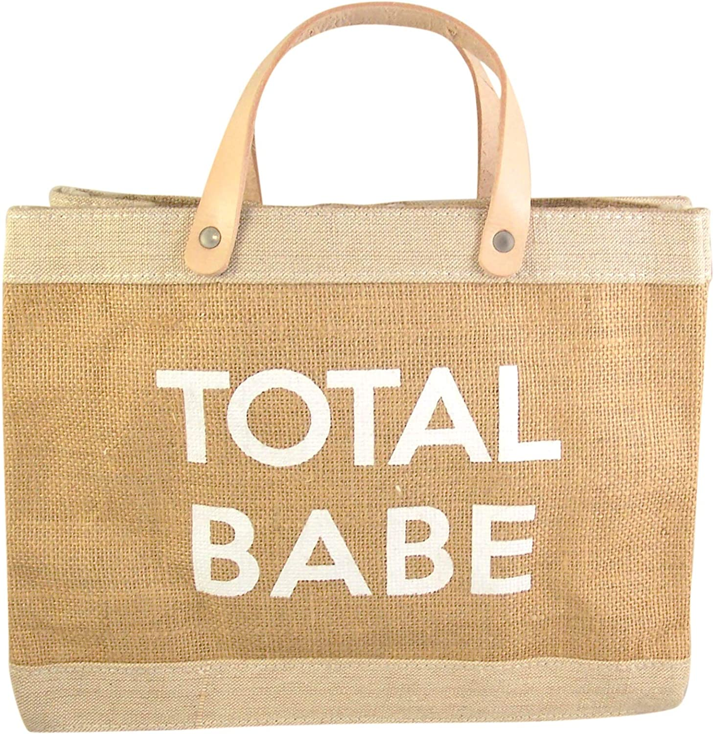 Total Babe Farmer's Market Mini Tote Bag with Genuine Leather Handles, 12 1 2 Inch