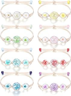 ORAZIO 8-10 Pcs Cute Friendship Bracelet Handmade Natural Dried Flower Bead Preserved Flower Bracelet for Women Girls Adjustable Rope Bracelet
